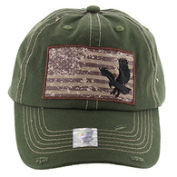 BM001 USA Flag With Eagle Buckle Cap (Solid Olive)