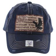BM001 USA Flag With Eagle Buckle Cap (Solid Navy)