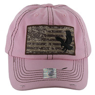 BM001 USA Flag With Eagle Buckle Cap (Solid Light Pink)