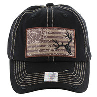BM001 USA Flag With Skull Buckle Cap (Solid Black)
