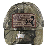 BM001 USA Flag With Skull Buckle Cap (Solid Hunting Camo)