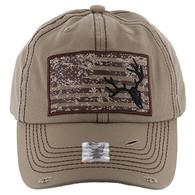 BM001 USA Flag With Skull Buckle Cap (Solid Khaki)