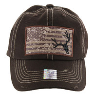 BM001 USA Flag With Skull Buckle Cap (Solid Brown)