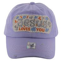 BM130 Jesus Loves Buckle Cap (Solid Purple)