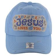 BM130 Jesus Loves Buckle Cap (Solid Sky Blue)