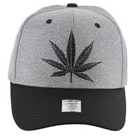 VM136 Marijuana Baseball Cap (Heather Grey & Black)