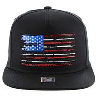 SM138 USA Flag Snapback Cap (Solid Black)