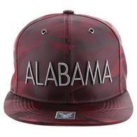 SM160 Alabama Snapback Cap (Solid Burgundy Military Camo)