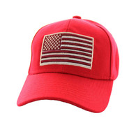 VM367 Kids American USA Flag Velcro Cap (Solid Red)