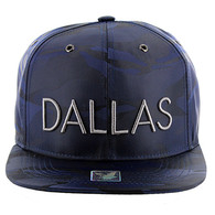 SM160 Dallas Snapback (Solid Navy Military Camo)