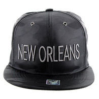 SM160 New Orleans Snapback (Solid Black Military Camo)