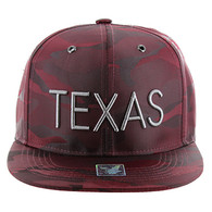 SM160 Texas Snapback (Solid Burgundy Military Camo)