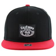 SM012 Cali Bear Snapback Hat Cap (Black & Red)