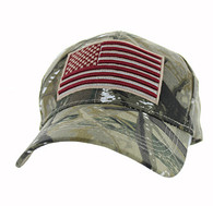 VM367 Kids American USA Flag Velcro Cap (Solid Hunting Camo)