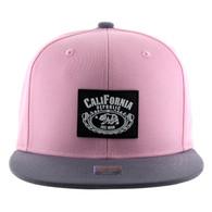 SM012 Cali Bear Snapback Hat Cap (Light Pink & Grey)