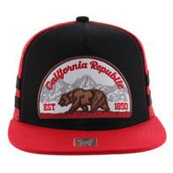 SM005 Cali Bear Snapback Hat Cap (Black & Red)