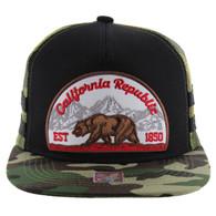 SM005 Cali Bear Snapback Hat Cap (Black & Military Camo)