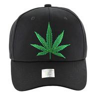 VM136 Marijuana Baseball Cap (Black & Black)