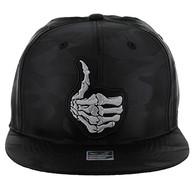 SM612 Finger Thumb Up Snapback Cap (Solid Black Military Camo)