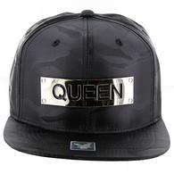 SM013 Queen Snapback Cap (Solid Black Military Camo)
