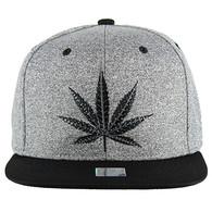 SM136 Marijuana Snapback (Heather Grey & Black)