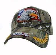 VM225 American USA Eagle Velcro Cap (Solid Hunting Camo)