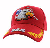 VM225 American USA Eagle Velcro Cap (Solid Red)