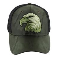 VM129 American USA Eagle Mesh Trucker Cap (Solid Olive Camo)