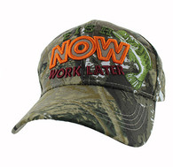 "VM195 ""FISH NOW WORK LATER"" Velcro Cap (Solid Hunting Camo)"