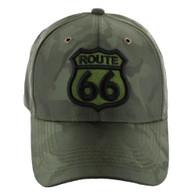 VM387 Route 66 Road Shield Velcro Cap (Solid Olive Camo)