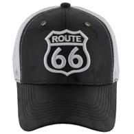 VM387 Route 66 Road Shield Mesh Trucker Cap (Black Camo & White)