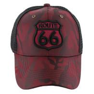 VM387 Route 66 Road Shield Mesh Trucker Cap (Burgundy Camo & Black)