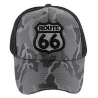 VM387 Route 66 Road Shield Mesh Trucker Cap (Grey Camo & Black)