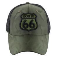 VM387 Route 66 Road Shield Mesh Trucker Cap (Olive Camo & Black)