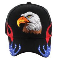 VM078 American USA Eagle Velcro Cap (Solid Black)
