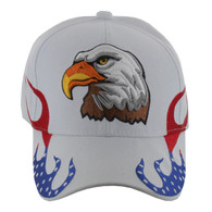 VM078 American USA Eagle Velcro Cap (Solid White)