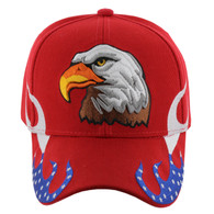 VM078 American USA Eagle Velcro Cap (Solid Red)