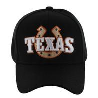 VM002 Texas Baseball Cap Hat (Solid Black)