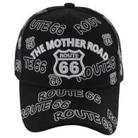 VM156 Route 66 Baseball Cap (Solid Black)