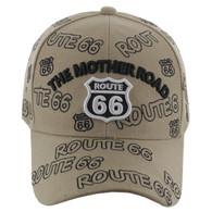 VM156 Route 66 Baseball Cap (Solid Khaki)