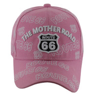 VM156 Route 66 Baseball Cap (Solid Light Pink)