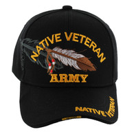 VM1005 Native Veteran Feather Army Velcro Cap (Solid Black)