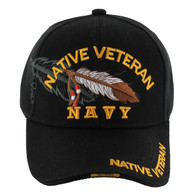 VM1005 Native Veteran Feather Navy Velcro Cap (Solid Black)