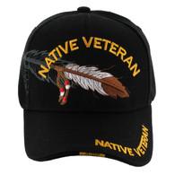 VM1005 Native Veteran Feather Velcro Cap (Solid Black)