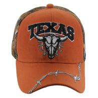 VM239 Texas Buffalo Skull Velcro Cap (Texas Orange & Hunting Camo)
