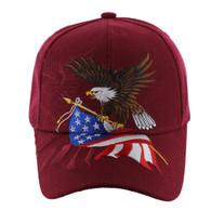 VM040 American USA Eagle Velcro Cap (Solid Burgundy)