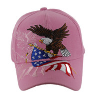 VM040 American USA Eagle Velcro Cap (Solid Light Pink)