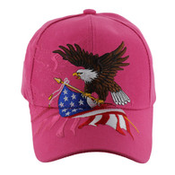 VM040 American USA Eagle Velcro Cap (Solid Hot Pink)