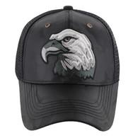 VM129 American USA Eagle Mesh Trucker Cap (Solid Black Camo)