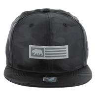 SM1007 Cali Bear Snapback Hat Cap (Solid Black Camo)